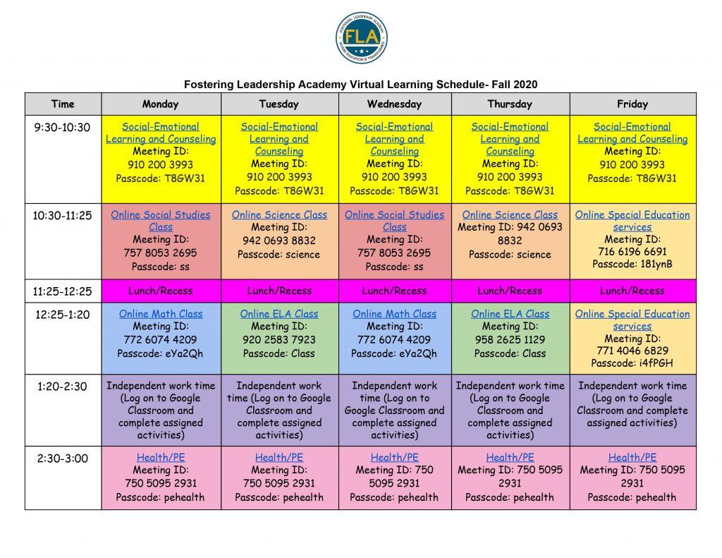FLA 2020 Fall Virtual Learning Schedule